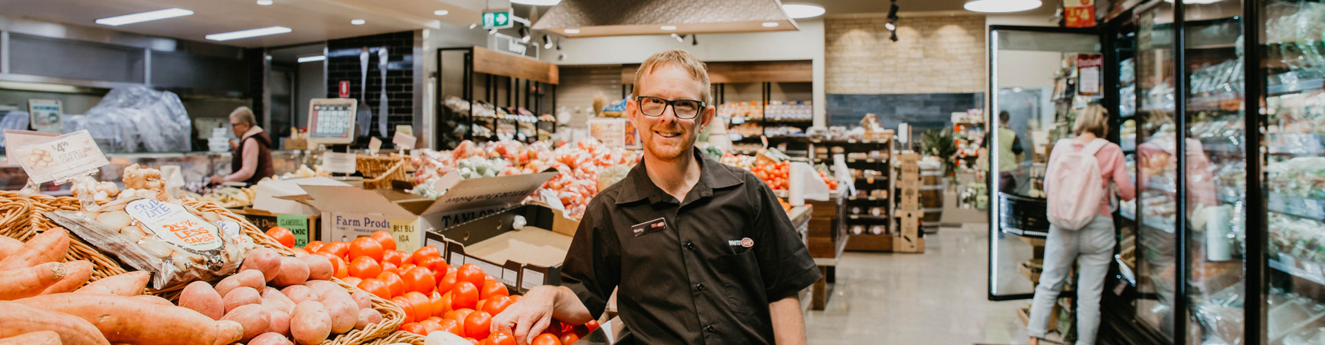 Man with disability in grocery store